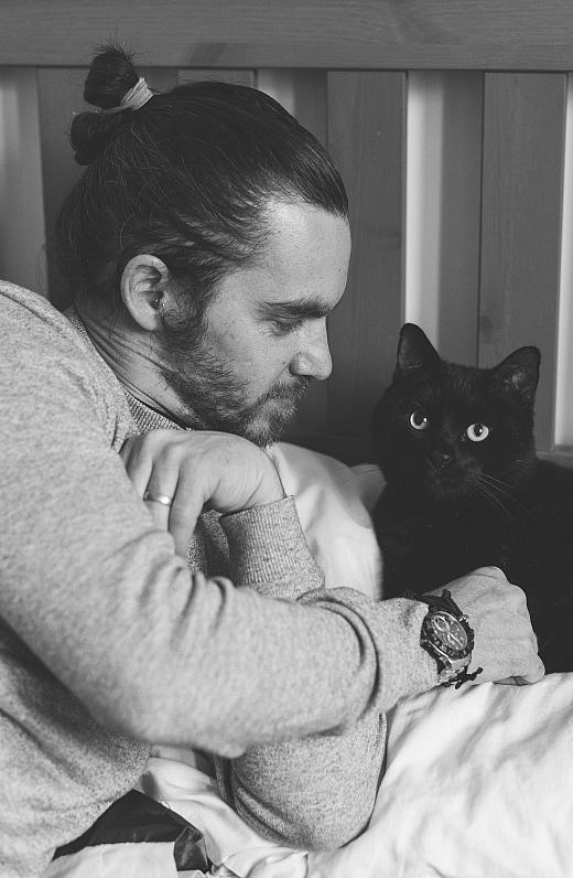 Shane and his black cat Jack